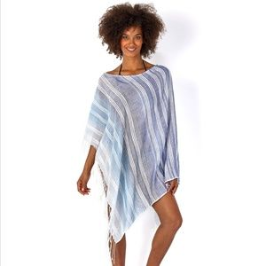 Echo Design Textured Stripe Poncho Havana Blue